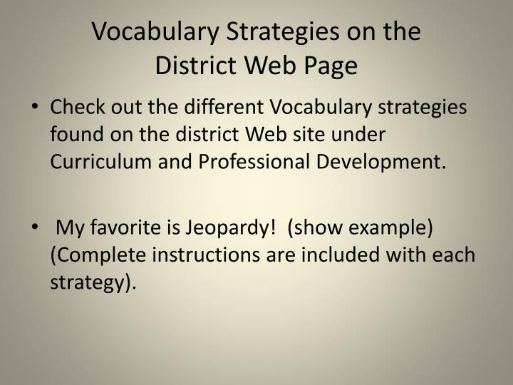 Vocabulary Strategies on the