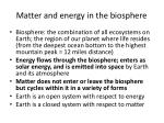 matter and energy in the biosphere