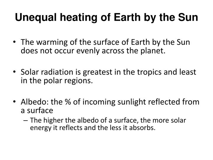 Unequal heating of Earth by the Sun