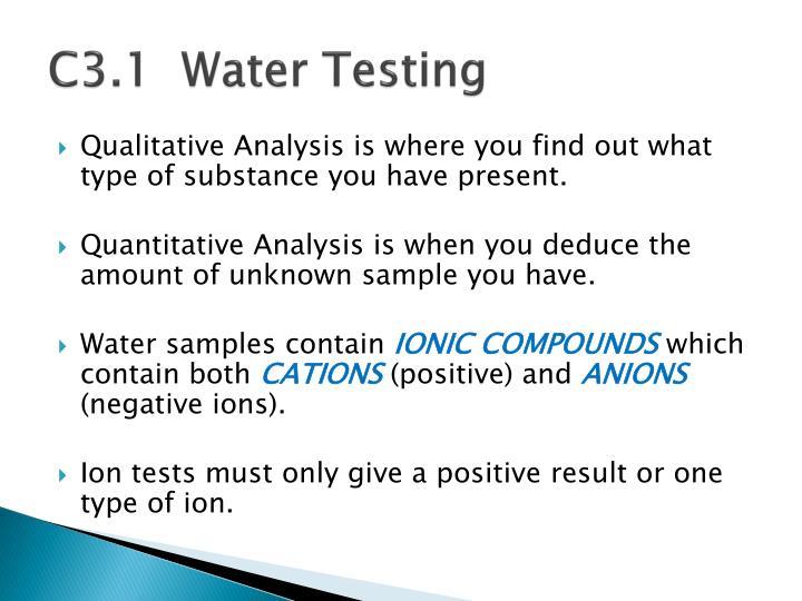 C3.1  Water Testing