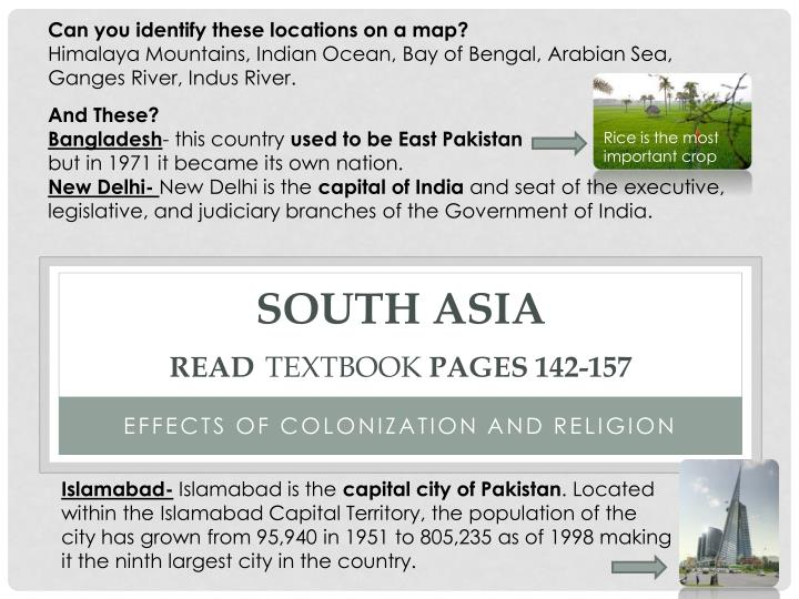 South asia read textbook pages 142 157