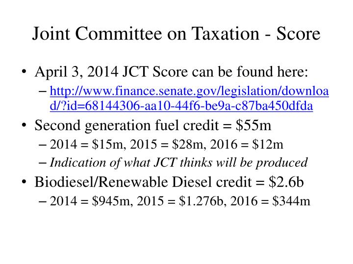 Joint Committee on Taxation - Score