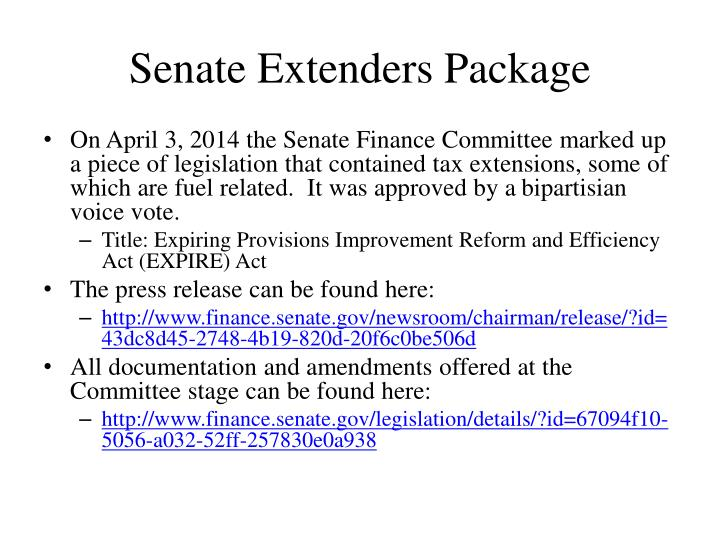 Senate Extenders Package