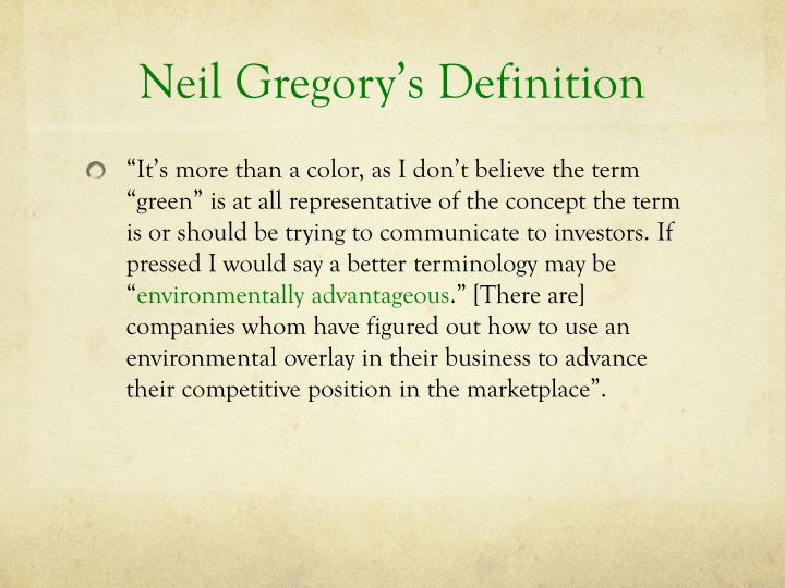 Neil Gregory's Definition