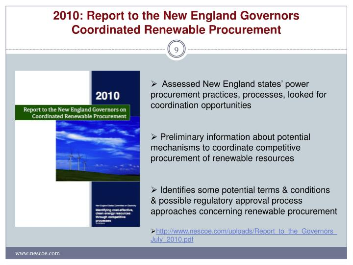 2010: Report to the New England Governors