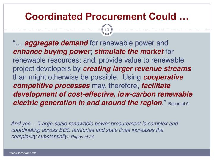 Coordinated Procurement Could …