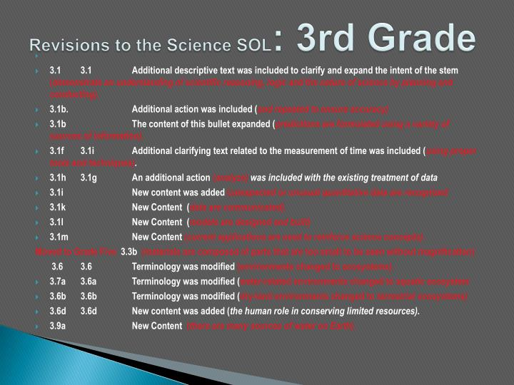 Revisions to the Science SOL