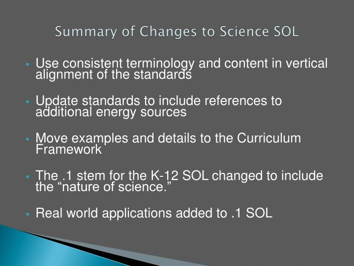 Summary of changes to science sol