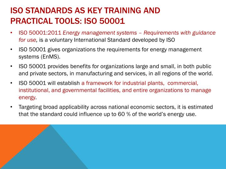 ISO standards as key training and practical