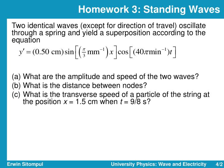 Homework 3 standing waves