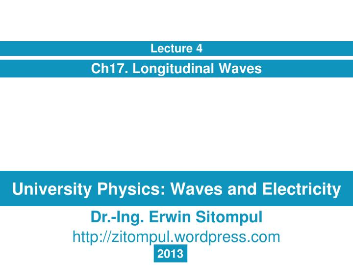 University physics waves and electricity