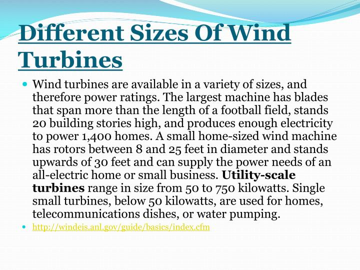 Different sizes of wind turbines