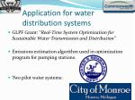 application for water distribution systems