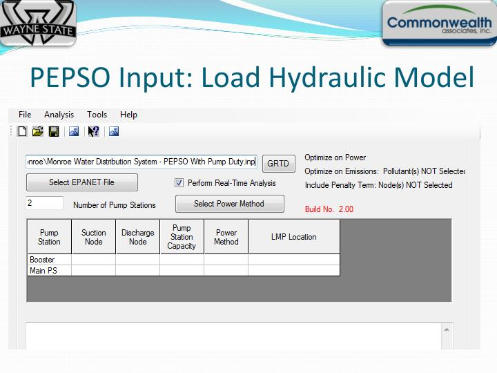 PEPSO Input: Load Hydraulic Model