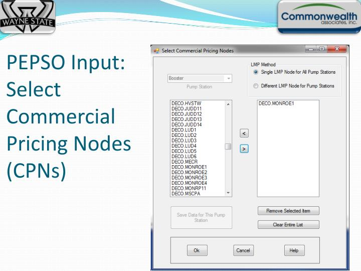 PEPSO Input: Select Commercial Pricing Nodes (CPNs)