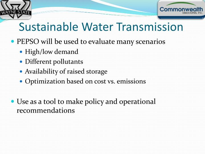 Sustainable Water Transmission