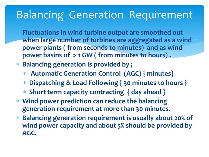 Balancing  Generation  Requirement