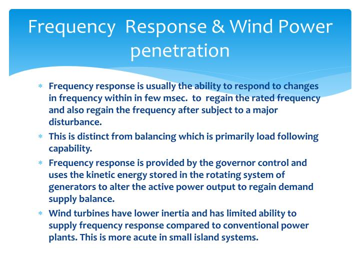 Frequency  Response & Wind Power penetration