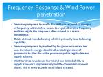 frequency response wind power penetration