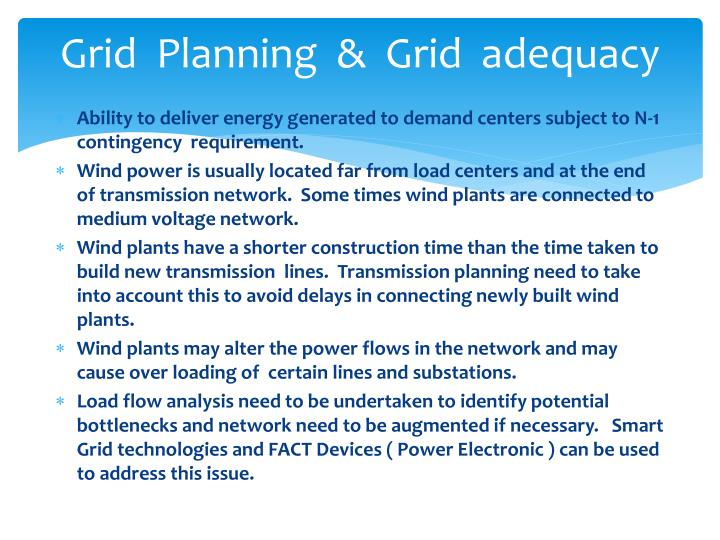 Grid  Planning  &  Grid  adequacy