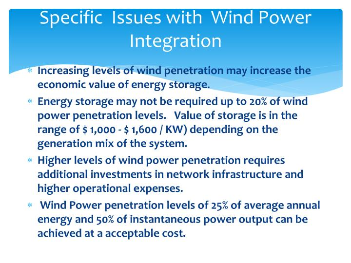 Specific  Issues with  Wind Power Integration