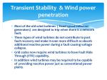 transient stability wind power penetration
