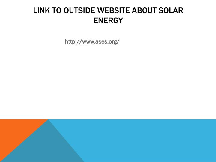 Link to outside Website about solar energy