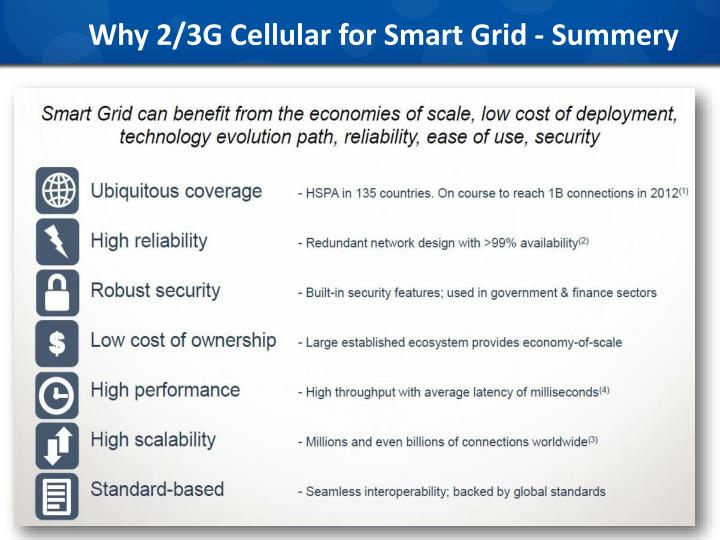 Why 2/3G Cellular for Smart Grid - Summery
