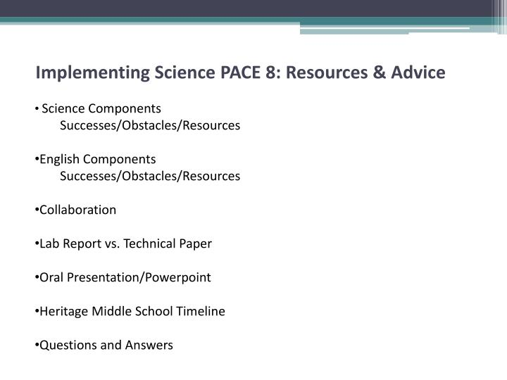 Implementing science pace 8 resources advice1