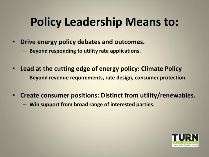 Policy leadership means to
