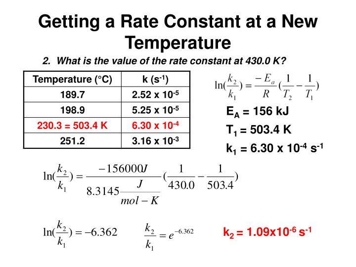 Getting a Rate Constant at a New Temperature