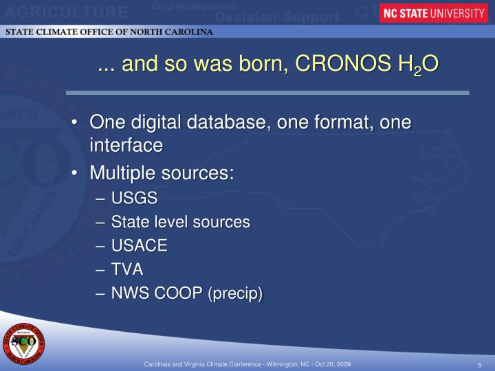 ... and so was born, CRONOS H