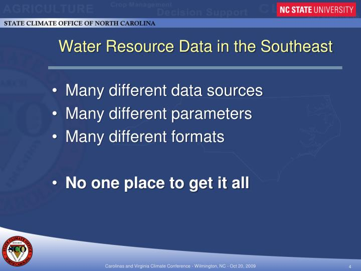 Water Resource Data in the Southeast