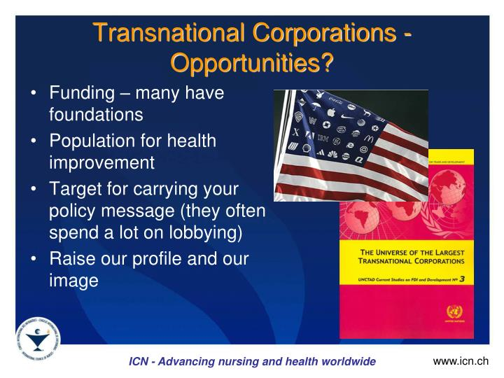 Transnational Corporations - Opportunities?