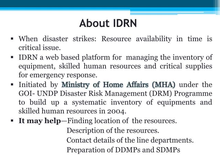 About IDRN