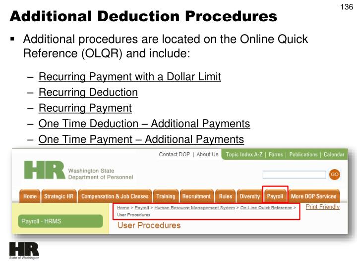 Additional Deduction Procedures
