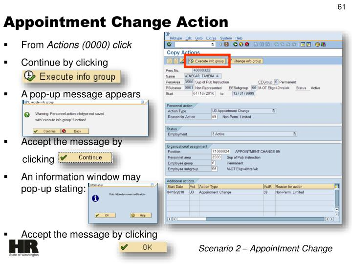 Appointment Change Action