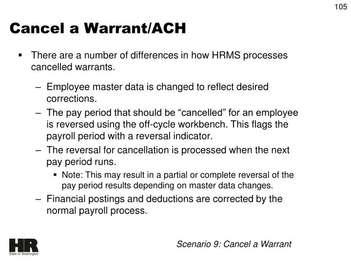 Cancel a Warrant/ACH