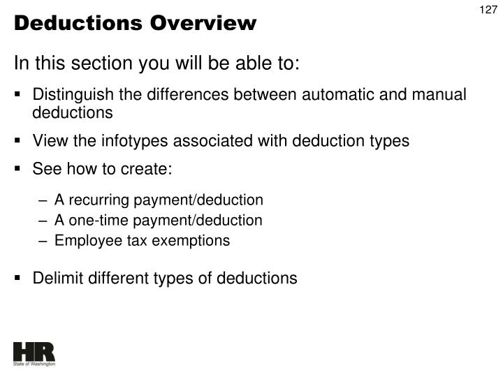 Deductions Overview