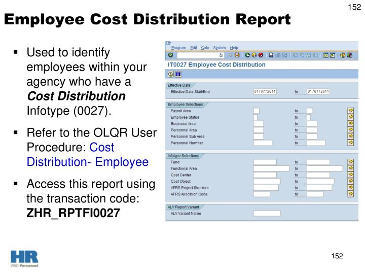 Employee Cost Distribution Report