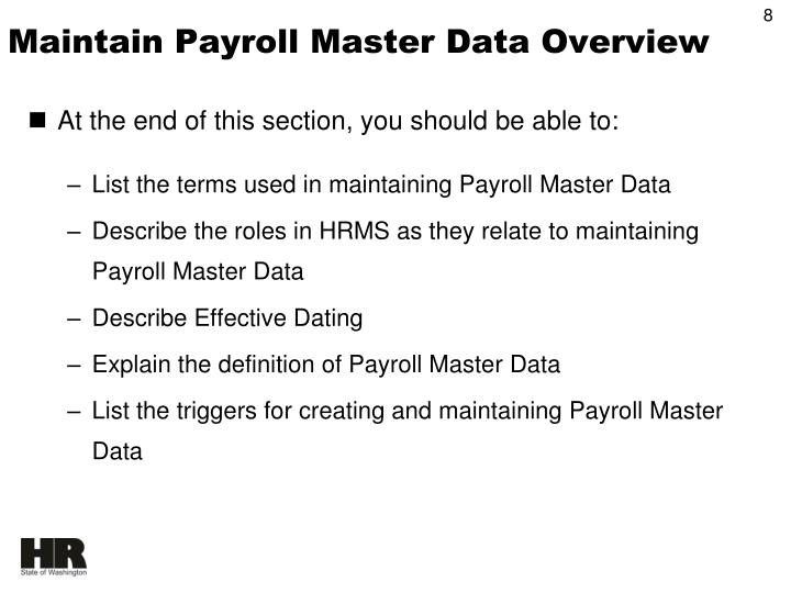 Maintain Payroll Master Data Overview