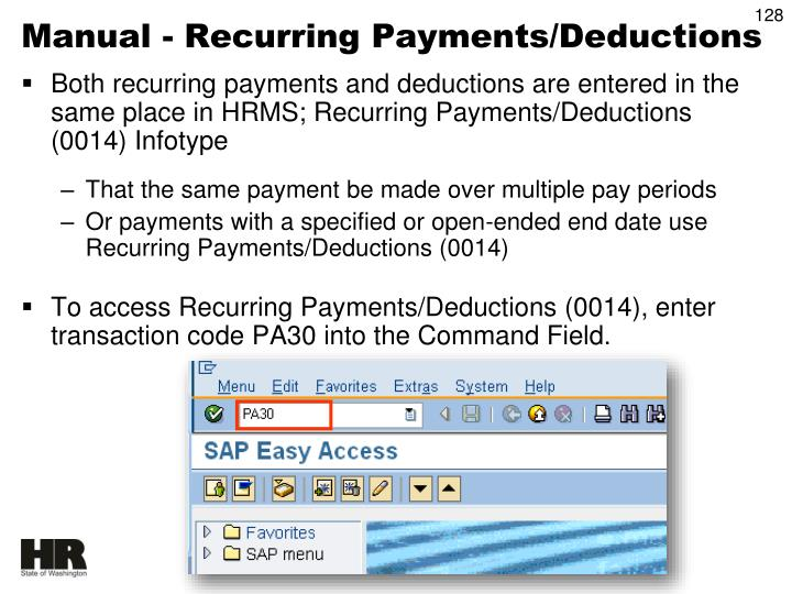 Manual - Recurring Payments/Deductions