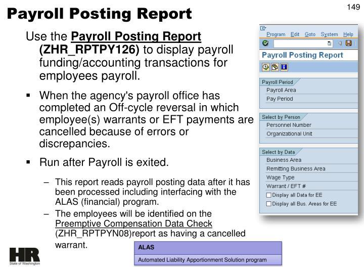 Payroll Posting Report
