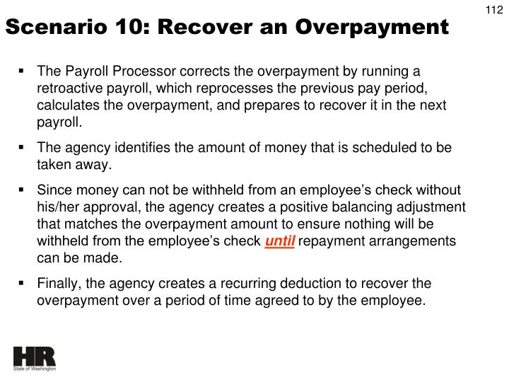 Scenario 10: Recover an Overpayment