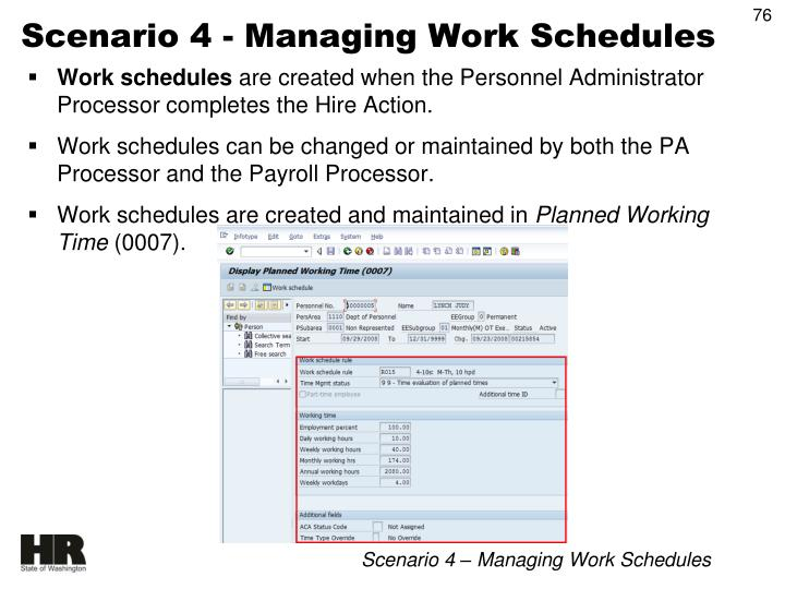 Scenario 4 - Managing Work Schedules