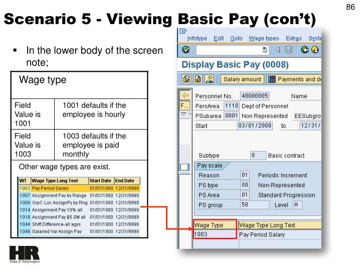 Scenario 5 - Viewing Basic Pay (con't)