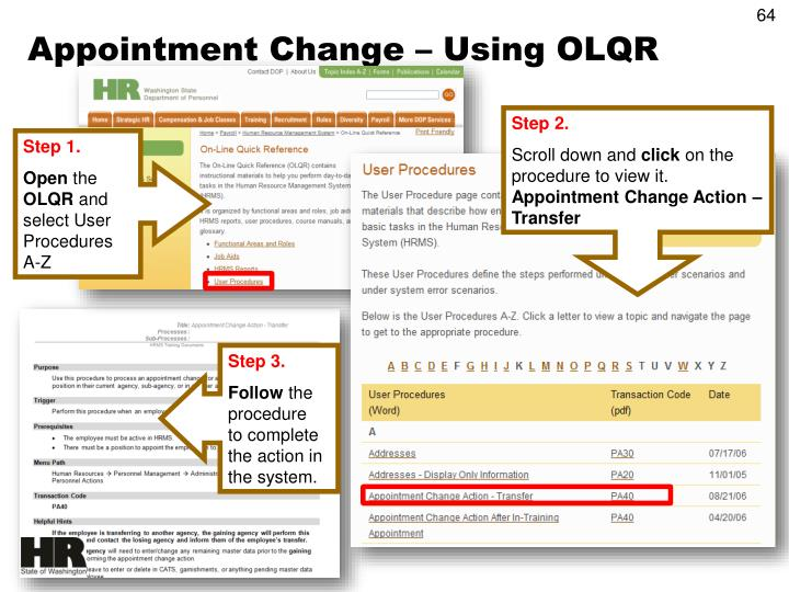 Appointment Change – Using OLQR