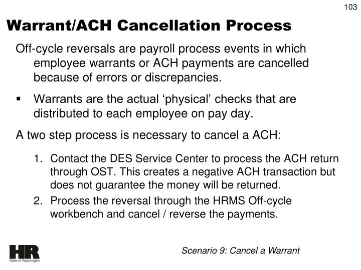 Warrant/ACH Cancellation Process