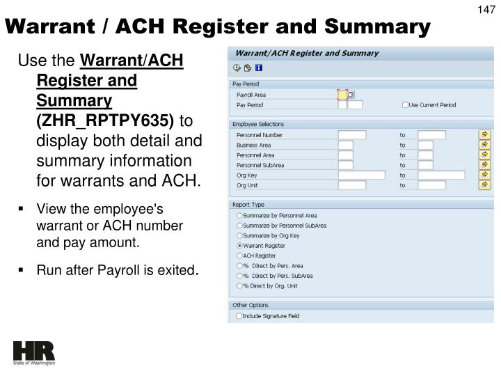 Warrant / ACH Register and Summary