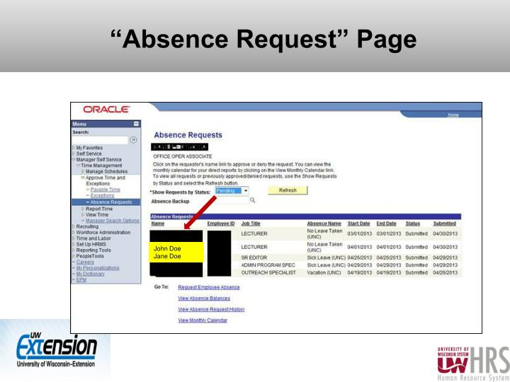 """""""Absence Request"""" Page"""